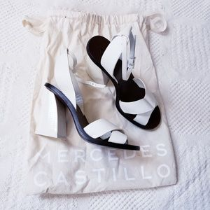 MERCEDES CASTILLO white Leather Sandal